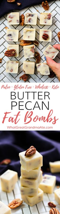 Whether you are #lowcarb or #keto, these Paleo Butter Pecan Fat Bombs are a delicious snack filled with healthy fats and they are guaranteed to kill your sugar cravings! #glutenfree #paleo #whole30