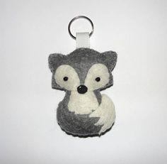 Wool Felt Arctic Fox Keychain Gray Fox Keychain Plush Fox
