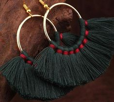 Product Description: Magnify your everyday style with this tassel bohemian earrings for a playful accent look. Dangle Earrings Gold-Tone Metal & Cotton Bohemian or Ethnic Style Handmade Beaded Jewelry, Handmade Jewelry Designs, Earrings Handmade, Diy Earrings, Tassel Earrings, Fashion Earrings, Fashion Jewelry, Silk Thread Earrings, Mehndi Art Designs