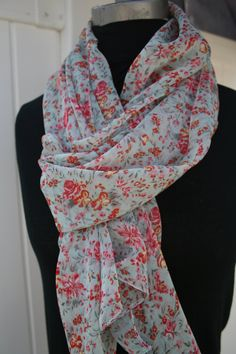 FREE SHIPPING Scarf  Light Weight  Blue Cyan Maroon Lily and Tulip by PIYOYO, $15.95