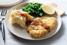 Serve these crunchy schnitzels with mashed potato, kale and creamy mushroom and garlic sauce for a quick and easy family meal. This recipe is brought to you by Gravox and taste.com.au.
