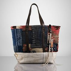 Kilim and leather tote