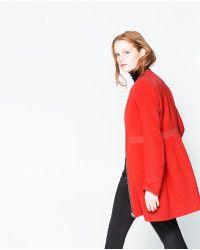 Zara Wool Coat in Red | Lyst