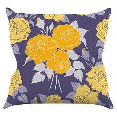 Anneline Sophia Summer Rose Yellow Throw Pillow - KESS InHouse : Target