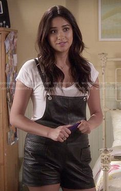 Emily's leather overalls on Pretty Little Liars.  Outfit Details: http://wornontv.net/50454/ #PLL
