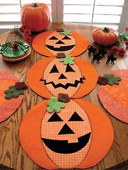 Holiday Décor Sewing Patterns - Pumpkin Party Table Runner, Place Mats or Table Topper Pattern