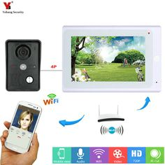 Ennio 7 Pulgadas LCD 2 Monitores de V/ídeo Puerta tel/éfono Timbre intercomunicador Kit 1 C/ámara 2 Monitores Visi/ón Nocturna con IR-CUTHD 700TVL C/ámara