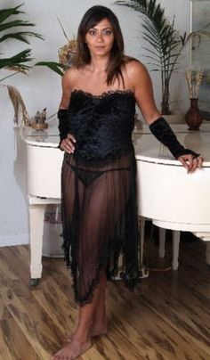 L-Sexy-Lingerie-see-through-Black-Long-Gown-Black-Panty-Stripper-Sleeves-L