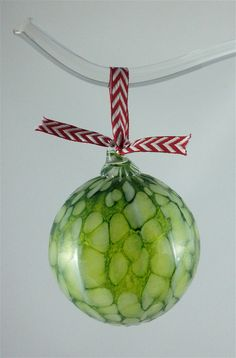 Hand Blown Glass Ornaments green blue or brown by BayBlownGlass