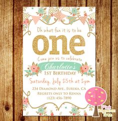 Shabby Chic First Birthday Party Invitation, Gold Glitter Birthday Invitation, Peach and Mint, One, First Birthday