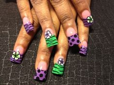 Love These Nails. Purple & Green :)