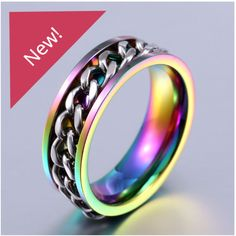 Men\'s Stainless Steel Chain Ring . Starting at $1 #HappyDance #Rings