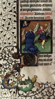 Detail of a miniature of David in prayer, and a fool, at the beginning of Psalm 52. Origin: France, Central (Paris). Attribution: Master of Guillebert de Mets