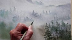 Simple Watercolor Landscape Painting for Beginners Watercolor Video, Watercolor Trees, Watercolour Tutorials, Watercolor Techniques, Painting Techniques, Watercolor Paintings, Watercolors, Watercolor Landscape Tutorial, Simple Watercolor