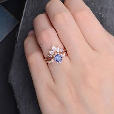 Lab Blue Sapphire Engagement Ring Rose Gold Bridal Set Moonstone Matching Band W… Lab Blue Sapphire Engagement Ring Rose Gold Bridal Set Moonstone Matching Band Wedding Ring 2 Rings Engagement Ring Rose Gold, Blue Wedding Rings, Classic Engagement Rings, Engagement Ring Settings, Diamond Wedding Bands, Colored Engagement Rings, Edwardian Engagement Rings, Engagement Rings With Sapphires, Vintage Engagement Rings