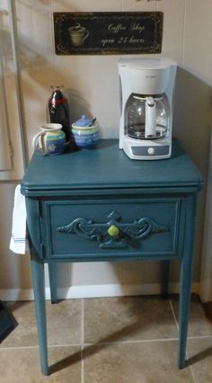 Coffee bar from sewing cabinet/ J Dooley Coffee Bar Design, Dining Room Hutch, Sewing Cabinet, Coffee Bars, Coffee Time, Table, Furniture, Home Decor, Cafe Shop Design