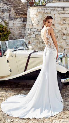 eddy k 2018 bridal sleeveless embroidered strap deep sweetheart neckline heavily embellished bodice elegant sheath wedding dress sheer back chapel train (isabel) bv