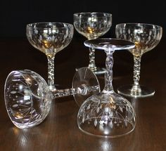 Vintage, Set of 6, Floral Dot and Leaf Champagne Glasses, Twist Stem by cocoandcoffeevintage