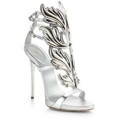 Giuseppe Zanotti Metallic Leather Winged Sandals   ❤ liked on Polyvore (see more heeled sandals)