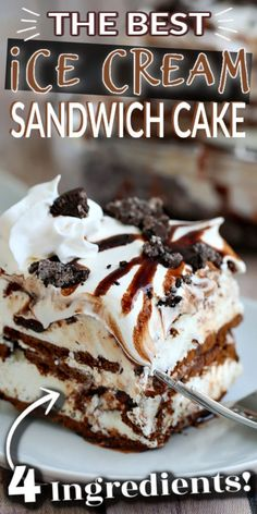 This OREO ICE CREAM SANDWICH CAKE has 6 delicious layers which consist of ice cream sandwiches, whipped topping, fudge, and crushed Oreos. Repeat and you have the perfect sweet treat that could not be easier! Mini Desserts, Ice Cream Desserts, Frozen Desserts, Ice Cream Recipes, Easy Desserts, Delicious Desserts, Frozen Treats, Oreo Ice Cream Sandwich, Icecream Sandwich Dessert