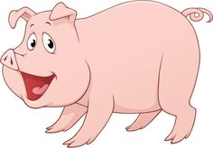 Pink, happy-looking cartoon pig