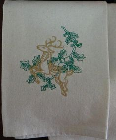 Reindeer and Holly Cotton Kitchen Dish Towel by TheBridesHopeChest, $11.00