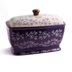 temp-tations® by Tara: temp-tations® Floral Lace Covered Bread Box in eggplant  - only available on temp-tations.com T47928 $36.98