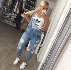 SherlinaNym Adidas Stripe Crop Top Denim Ripped Jeans Dungaree Adidas Superstar Trainers Footwear Dope Swag Urban Streetwear