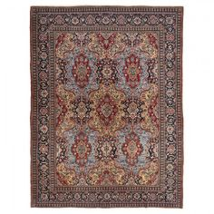 Traditional cream, navy, and red colors are vibrant in this antique Tabriz wool rug. Handwoven in Iran, its exquisitely detailed medallions are framed by a patterned border, reflecting the Persian and Oriental art influence in this region.