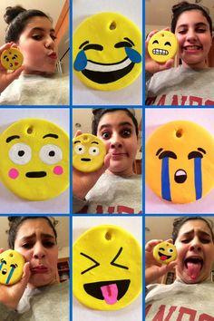 emoji, emojis, craft, ornament, clay, paint pens
