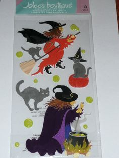October Halloween Scrapbooking layout ideas!! WITCH'S BLACK CAT  Jolee's Boutique Stickers 3d by ExpressionsofFaith on Etsy, $3.19