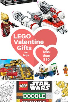 Need an inexpensive LEGO Valentine gift for your boy? We found the very best LEGO gifts for under 10 dollars each. Updated each year with the best and cheapest LEGO sets, books, and more! Valentine Gifts For Boys, Lego Valentines, Gifts For Teen Boys, Gifts For Teens, Cheap Lego Sets, Lego Gifts, Boy Gifts, Lego Books, Activities For Boys