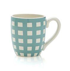 LivingQuarters Gingham Turquoise Mug