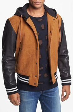 Marc by Marc Jacobs Pensacola Leather Sleeve Bomber Jacket