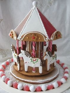 Pic 11 Gingerbread Carousel | Little girls will love this too-cute carousel made of gingerbread. We love the pretty ponies most of all. | 10 amazing gingerbread houses - Today's Parent