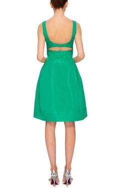 Green Silk Taffeta Dress With Open Back by OSCAR DE LA RENTA Now Available on Moda Operandi