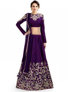 Fastkharidi Latest Purple Colour Beautiful Designer Unsttiched Lahenga Choli Lehengas