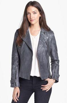 Bernardo Asymmetrical Leather Moto Jacket