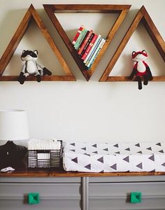 nursery // triangle shelves over changing table