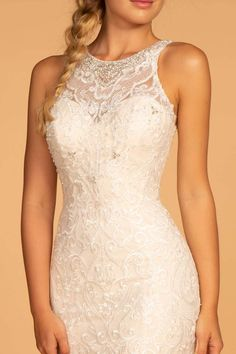 GLS by Gloria - GL2597 Embellished Lace Halter Trumpet Gown – Couture Candy 2nd Wedding Dresses, Beaded Wedding Gowns, Gorgeous Wedding Dress, Bridal Dresses, 2nd Marriage Wedding Dress, Destination Wedding Dresses, Wedding Outfits, Bridesmaid Dresses, Illusion Neckline Wedding Dress