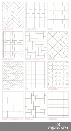 Bathroom tile design pattern Your Guide to tile pattern layouts Tile Layout Patterns, Subway Tile Patterns, Bathroom Tile Patterns, Tile Floor Patterns, Tile Backsplash Patterns, Kitchen Flooring, Kitchen Backsplash, Ceramic Flooring, Subway Tile Backsplash