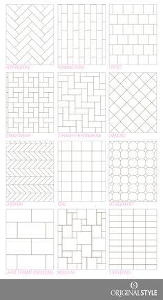 Bathroom tile design pattern Your Guide to tile pattern layouts Tile Layout Patterns, Subway Tile Patterns, Bathroom Tile Patterns, Tile Floor Patterns, Tile Backsplash Patterns, Subway Tile Backsplash, Brick Patterns, Bathroom Floor Tiles, Kitchen Tiles