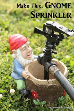 Make your own gnome sprinkler to water your garden or lawn in style!  A quick and easy project for your home! #letsgro   #lifestartshere   #ifitwatersnowitfeeds