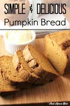 Easy Pumpkin Bread. I made this and my family had a loaf and a half eaten in an hour. SO good