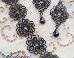 Check out Black lace jewelry.PDF Tatting Pattern Tamara set earrings and bracelet frivolite pattern tatting instruction tatting with beads earrings on emeliebeads