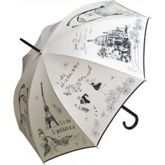 Enjoy this ivory folding umbrella with the famous Eiffel Tower and the Sacré Coeur in black drawings.     This design is available black on white, or white on black. The same design and colors are also available with a long handle, and as a standard size folding umbrella.