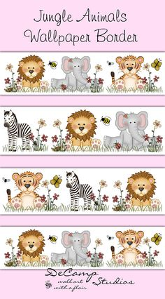 JUNGLE ANIMALS WALLPAPER Border Wall Decals Baby Girl Boy Nursery Childrens…