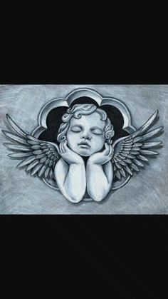 Cherub angels and cherubs Tattoo Design Drawings, Tattoo Sketches, Angel Tattoo Drawings, Chicano Tattoos, Body Art Tattoos, Tattoo Oma, Cat Tattoo, Cupid Tattoo, Angels Tattoo