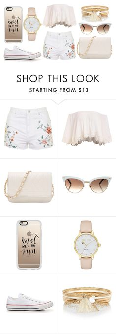 """Blush"" by pokeygirlllll on Polyvore featuring Topshop, Gucci, Casetify, Kate Spade, Converse and River Island"