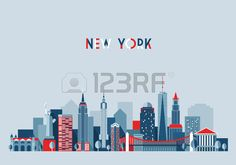 New York city architecture vector illustration skyline city silhouette skyscraper flat design Stock Vector